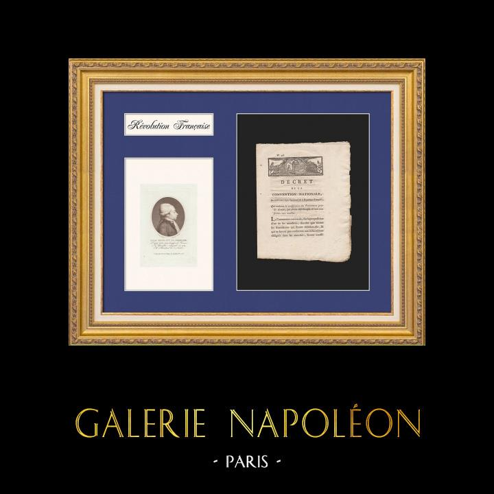 Decree of the National Convention - 1793 - Confiscation of non-compliant Supplies for the Armies - Portrait of Isaac-René-Guy Le Chapelier   Historical Document on laid paper of 1793, Year 2 of the French Republic and Portrait of Isaac René Guy le Chapelier