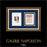 Dekret - Franska Revolutionen - 1792 - Vapen | Porträtt av François Séverin Marceau (1769-1796) | Dekret N°1851 av Nationalförsamling med en stor Träsnitt-Vignette daterad 19 Juin 1792, l'An 4 de la Liberté