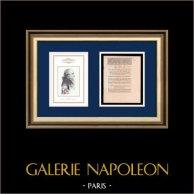 Decreto - Revolução Francesa - 1792 - Direito do cidadão ativo | Retrato de Gaspard Monge (1746-1818) | Decreto N°1966 da Assembleia Nacional com uma grande vinheta em xilogravura em 3 Août 1792, l'An 4 de la Liberté