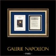 Dekret - Ludvig XVI - 1791 - Utbyte av Officer | Porträtt av Napoleon Bonaparte i Pont d'Arcole (Antoine-Jean Gros) | Dekret N°1203 av Nationalförsamling med en stor Träsnitt-Vignette daterad 1er Août 1791