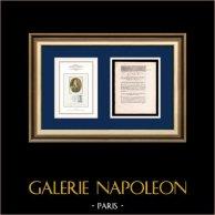 Decreto - Revolución Francesa - 1792 - Prisioneros de guerra | Retrato de Camille Desmoulins (1760-1794) | Decreto N°1972 de la Asamblea Nacional con una grande viñeta xilográfica fechado el 3 Août 1792, l'An 4 de la Liberté