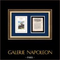 Decreto - Rivoluzione Francese - 1792 - Condivisione ed eredità | Napoleone Bonaparte a Pont d'Arcole (Horace Vernet) | Decreto N°271 de l'Assemblea Nazionale con una grande vignetta xilografica del 25 Août 1792, l'An 4 de la Liberté