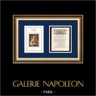 Dekret - Ludvig XVI - 1791 - Säkerhet för kungen och hans familj i Paris | Porträtt av Napoleon Bonaparte (Andrea Appiani) | Dekret N°15 med en stor Träsnitt-Vignette daterad 23 Juin 1791