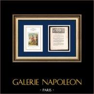 Dekret - Ludvig XVI - 1791 - Säkerhet för Kungen och hans familj | Porträtt av Napoleon Bonaparte, Premier Consul (Baron Antoine-Jean Gros) | Dekret N°24 av Nationalförsamling med en stor Träsnitt-Vignette daterad 25 Juin 1791