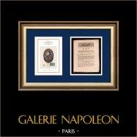 Decreto - Luís XVI de França - 1791 - Muralhas de Paris | Retrato de Louis Charles Antoine Desaix (1768-1800) | Decreto da Assembleia Nacional com uma grande vinheta em xilogravura em 26 Mars 1791