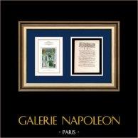 Decreto - Luis XVI de Francia - 1791 - Jubilaciónes | Estatua de Camille Desmoulins (1760-1794) | Decreto de la Asamblea Nacional con una grande viñeta xilográfica fechado el 4 Mai 1791
