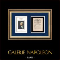 Proclamazione del Re - Luigi XVI di Francia - 1790 - Beni nazionali | Ritratto di Georges Danton (Constance-Marie Charpentier) | Proclamazione del Re Luigi XVI di Francia dell'anno 1790 con una grande vignetta xilografica