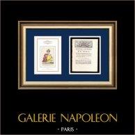 Lettre patente du Roi - Louis XVI - 1790 - Navigation sur le canal de Picardie | Caricature de la Révolution Française | Lettre patente du Roi Louis XVI de l'année 1790 avec vignette gravée sur bois