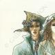 DÉTAILS  05 | Décret - Révolution Française - 1792 - Caisse de l'Extraordinaire ouvrira le remboursement de l'emprunt | Révolution Française - Couple au chapeau