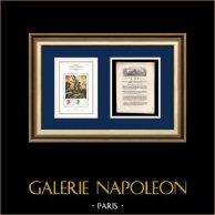 Décret - Louis XVI - 1791 - Anciens Greffiers | La Liberté guidant le peuple (Eugène Delacroix) | Décret N°577 de l'Assemblée Nationale avec vignette gravée sur bois du 9 et 16 Juin 1791