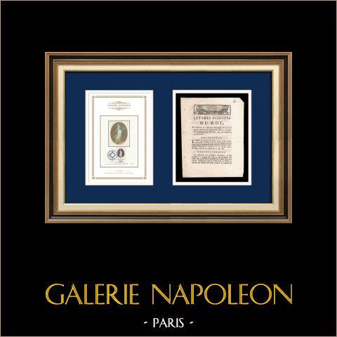 Carta patente del Rey - Luis XVI de Francia - 1790 - Maestro de postas | Lema Oficial de la República Francesa - Fraternidad | Carta patente del Rey Luis XVI de Francia del año 1790 con una grande viñeta xilográfica