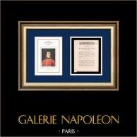 Dekret - Ludvig XVI - 1791 - Tyska, irländska och Liege infanteriregiment | Porträtt av Napoleon Bonaparte (Robert Lefevre) | Dekret N°1168 av Nationalförsamling med en stor Träsnitt-Vignette daterad 21 Juillet 1791