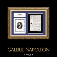 Document Historique - Règne de Napoléon Ier - 1806 - Premier Empire | Document manuscrit original daté du 25 Juin 1806 et Portrait de Napoléon, gravure sur acier originale dessinée par Sandoz