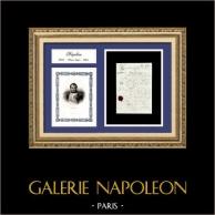 Document Historique - Règne de Napoléon Ier - 1809 - Premier Empire | Document manuscrit original daté du 16 Juillet 1809 et Portrait de Napoléon, gravure sur acier originale dessinée en 1824
