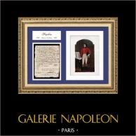 Documento Histórico - Guerras Revolucionárias Francesas - 1796 - Napoleão Bonaparte na Batalha de Castiglione | Documento manuscrito datado do 23 de Julho de 1796 (3 Thermidor, Ano IV da República) e Retrato de Napoleão Bonaparte, uma litografia original.