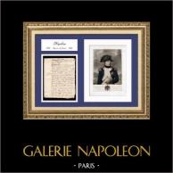 Documento Storico - Regno di Luigi XV di Francia - 1769 - Nascita di Napoleone Bonaparte | Documento manoscritto datato del 15 agosto 1769 ed Ritratto di Napoleone Bonaparte, Litografia originale.