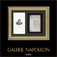Historiskt Dokument - Franska Revolutionen - 1792 - Licens av representanten | Original dokument daterat den Juli 24, 1792 och Porträtt av Jean-Paul Marat