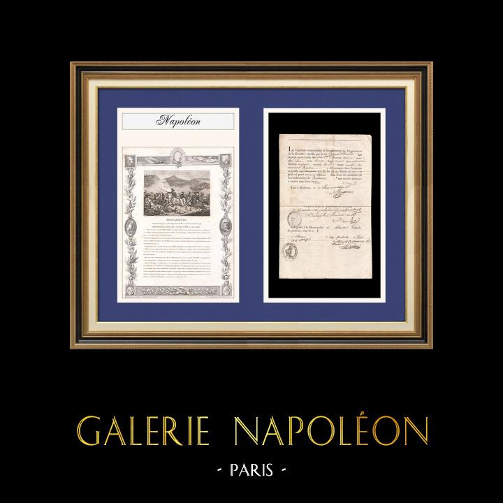 Napoleone - Il Consolato - 1802 - Bordeaux - Amnistia Concessa a un Disertore   Documento d'epoca su carta vergata datato 1802 (22 Thermidor An X) con il sigillo di Barsac. Biografia e stampa antica di Jean-Baptiste Bernadotte