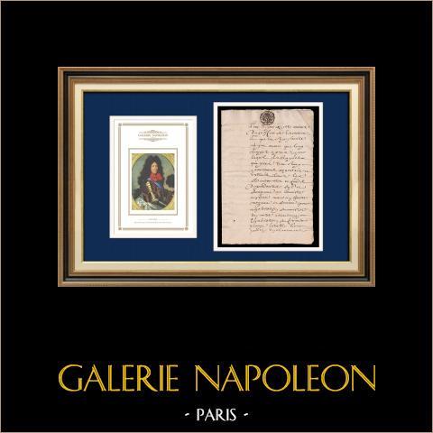 Manuscrit - Epoque Louis XIV - Généralité de Paris (1706) | Portrait de Louis XIV (1638-1715) | Document manuscrit de 4 pages sur papier vergé filigrané rédigé en 1706 (Louis XIV)