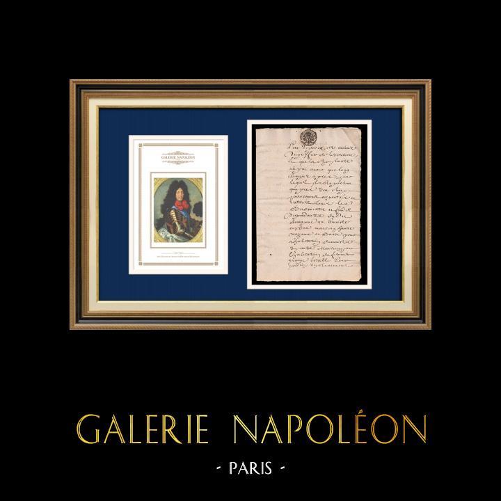 Manuscript - Louis XIV Period - Généralité de Paris (1706) | Portrait of Louis XIV of France (1638-1715) | Handwritten document (4 pages) on watermarked laid paper written in 1706 (Louis XIV)