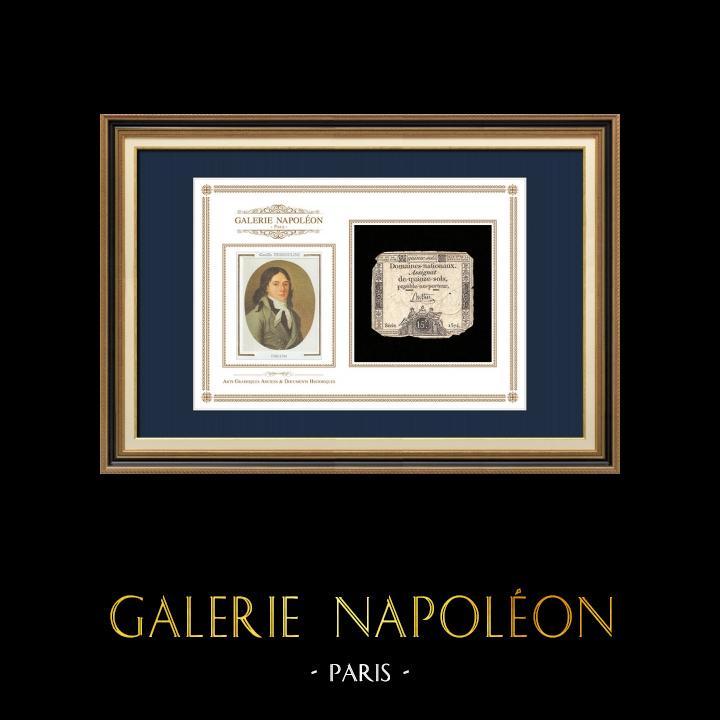 Assignat de 15 sols - Révolution Française - 1792   Portrait de Camille Desmoulins (1760-1794)   Assignat de 15 sols de l'année 1792 (An 1 de la République)