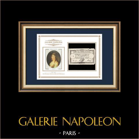 Asignado de 25 sols - Revolución Francesa - 1792 | Retrato de Manon Roland (1754-1793) | Asignado de 25 sols del año 1792 (An 4 de la Liberté)