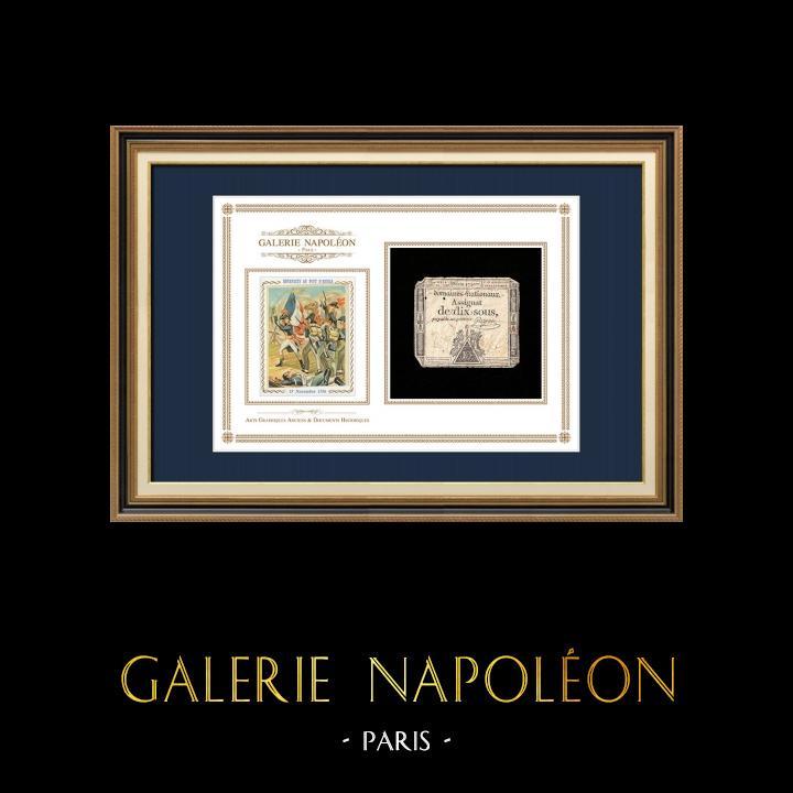 Assignat de 10 sous - Révolution Française - 1792 | Portrait de Bonaparte - Pont d'Arcole (Antoine-Jean Gros) | Assignat de 10 sous de l'année 1792 (An 4 de la Liberté)