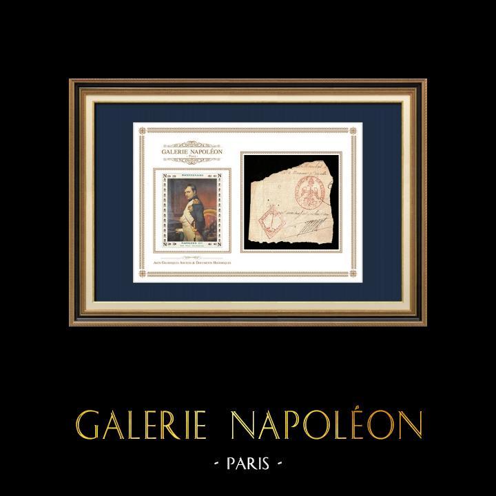 Cachet à encre - Napoléon Ier - 1810 - 62ème Régiment de ligne | Portrait de Napoléon (Paul Delaroche) | Fragment d'un document d'époque rédigé vers 1810 comportant le cachet à encre du 62ème Régiment de ligne