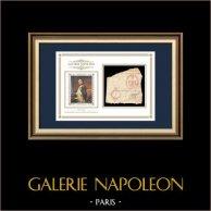 Carimbo de tinta - Napoleão I - 1810 - Regimento de Infantaria de Linha N.º 62 | Retrato de Napoleão (Paul Delaroche) | Fragmento de um documento da época escrito por volta de 1810 com o carimbo de tinta do Regimento de Infantaria de Linha N.º 62 («62ème Régiment de ligne»)