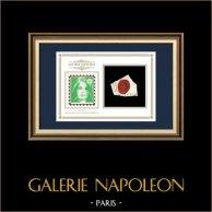 Selo de cera - Revolução Francesa - 1794 - Batalhão N.º 5 de Paris | Retrato de Marianne - Figura Alegórica da República Francesa | Fragmento de um documento da época escrito por volta de 1794 com o selo de cera do Batalhão N.º 5 de Paris («5ème Bataillon de l'Unité de Paris»)