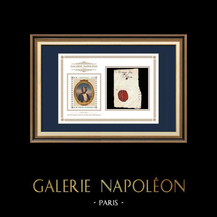 Sceau de cire - Révolution Française - 1794 - 2ème Bataillon du Lot (Armée du Rhin) | Portrait de Napoléon Bonaparte (1769-1821) | Fragment d'un document d'époque rédigé vers 1794 comportant le sceau de cire du 2ème Bataillon du Lot (Armée du Rhin)