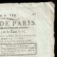 DÉTAILS  02 | Révolution Française - Journal de Paris - Jeudi 29 Avril 1790 | Calendrier Républicain - Prairial