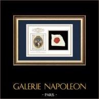Sigillo di cera - Rivoluzione Francese - 1794 - 5º Battaglione di Sapeurs | Ritratto di Napoleone Bonaparte (1769-1821) | Frammento di un documento d'epoca scritto intorno al 1794 recante il sigillo di cera del 5º Battaglione di Sapeurs («5ème Bataillon de Sapeurs»)