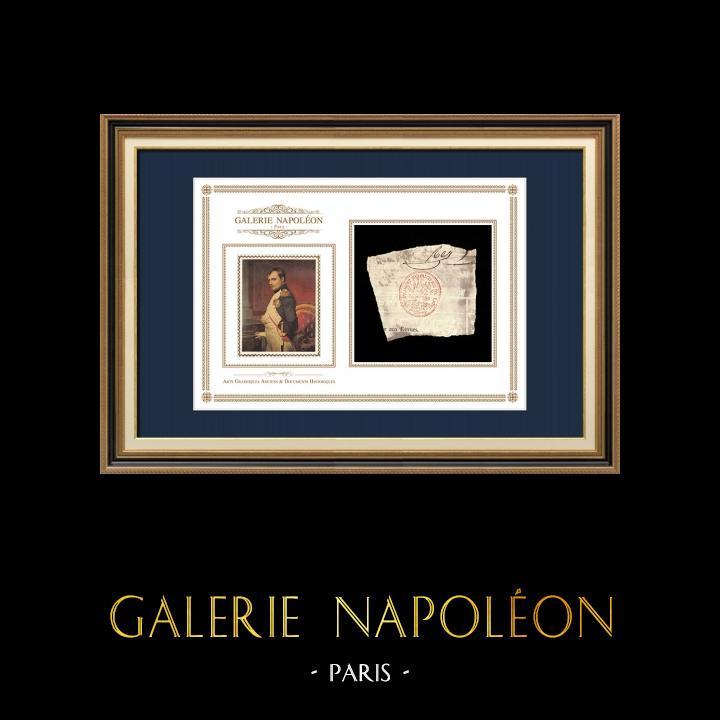 Cachet à encre - Napoléon Ier - 1810 - 102ème Régiment d'Infanterie de ligne   Portrait de Napoléon   Fragment d'un document d'époque rédigé vers 1810 comportant le cachet à encre du 102ème Régiment d'Infanterie de ligne