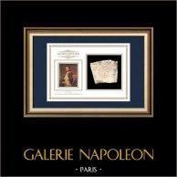 Cachet à encre - Napoléon Ier - 1810 - 102ème Régiment d'Infanterie de ligne | Portrait de Napoléon | Fragment d'un document d'époque rédigé vers 1810 comportant le cachet à encre du 102ème Régiment d'Infanterie de ligne
