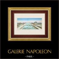 Vue d'optique du Palais des Tuileries et du Pont Royal à Paris (France) | Vue d'optique du XVIIIe siècle en coloris d'époque. Gravure sur cuivre originale sur papier vergé avec rehauts d'aquarelle d'époque. Circa 1760