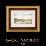 Vue d'optique de la Place Vendôme et de la Colonne Vendôme à Paris (France)