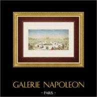Vue d'optique de la Place de la Concorde à Paris (France) | Vue d'optique du XVIIIe siècle en coloris d'époque. Gravure sur cuivre originale sur papier vergé filigrané avec rehauts d'aquarelle d'époque. Editée par Basset à Paris vers 1760