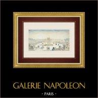Vue d'optique de la Place Louis XV - Place de la Concorde - Paris (France) | Vue d'optique du XVIIIe siècle en coloris d'époque. Gravure sur cuivre originale sur papier vergé filigrané avec rehauts d'aquarelle d'époque. Editée par Basset à Paris vers 1760