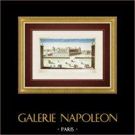 Vue d'optique du Château de Saint-Germain-en-Laye (France) | Vue d'optique du XVIIIe siècle en coloris d'époque. Gravure sur cuivre originale sur papier vergé filigrané avec rehauts d'aquarelle d'époque. Editée par Basset à Paris vers 1760