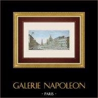 Guckkastenbild von Palazzo Pamphilj und Piazza Navona in Rom (Italien)