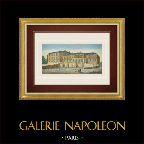 Vue d'optique du Château de Saint-Cloud (France) | Vue d'optique du début du XIXe siècle en coloris d'époque. Gravure à l'eau-forte originale avec rehauts d'aquarelle d'époque. Editée par Basset à Paris vers 1830