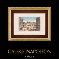 Vue d'optique de la Place Louis XV, Place de la Concorde à Paris (France) | Vue d'optique du XVIIIe siècle en coloris d'époque. Gravure sur cuivre originale sur papier vergé filigrané avec rehauts d'aquarelle d'époque. Editée à Paris vers 1780