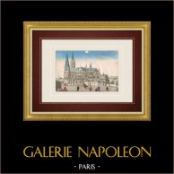 Vue d'optique de la Cathédrale de Chartres (France) | Vue d'optique du XVIIIe siècle en coloris d'époque. Gravure sur cuivre originale sur papier vergé filigrané avec rehauts d'aquarelle d'époque. Editée à Paris vers 1770