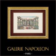 Vue d'optique du Jardin du Roi de l'Ile de Naxos (Sicile) | Vue d'optique du XVIIIe siècle en coloris d'époque. Gravure sur cuivre originale sur papier vergé avec rehauts d'aquarelle d'époque. Editée à Paris vers 1770