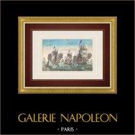 Vue d'optique de voiliers par temps calme | Vue d'optique du XVIIIe siècle en coloris d'époque. Gravure sur cuivre originale sur papier vergé filigrané avec rehauts d'aquarelle d'époque. Editée à Paris vers 1770