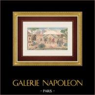 Vue d'optique - L'homme embarrassé   Vue d'optique du XVIIIe siècle en coloris d'époque. Gravure sur cuivre originale sur papier vergé avec rehauts d'aquarelle d'époque. Editée à Paris vers 1770
