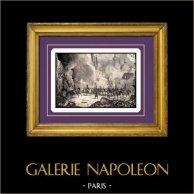 Campagna di Russia - Napoleone Bonaparte - Incendio di Mosca - Guerre Napoleoniche | Incisione su acciaio originale incisa da B. Leubner. 1840