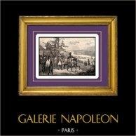 Guerres Napoléoniennes - Campagne de Russie - Napoléon Franchit le Fleuve Niémen (24 juin 1812) | Gravure sur acier originale gravée par B. Leubner. 1840