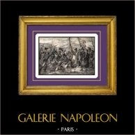 Napoleon Kommer Tillbaka från den Elba ön (Grenoble 1815) | Original stålstick graverade av B. Leubner. 1840